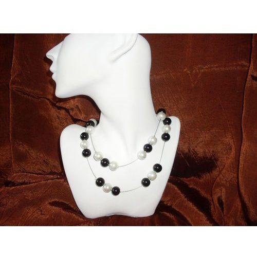 N-00005 Naszyjnik z perełek szklanych, białych i czarnych