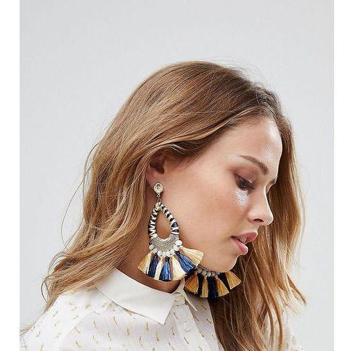Glamorous navy & yellow tassel statement earrings (+) - multi