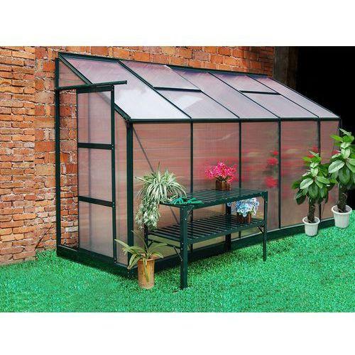 Szklarnia ogrodowa z poliwęglanu dostawiana do budynku o pow. 3,7 m² CALICE II z podstawą - Zielona