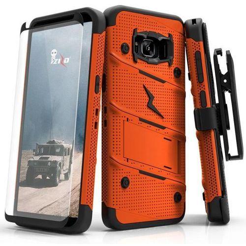 Zizo bolt cover etui pancerne samsung galaxy s8 (orange/black) + szkło hartowane na ekran