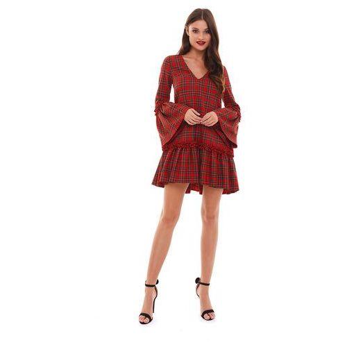 Sukienka Noemi w czerwoną kratę, w 4 rozmiarach