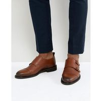 Selected homme leather double monk shoes - brown