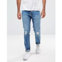Hoxton Denim Skinny Jeans in Mid Blue - Blue, jeans