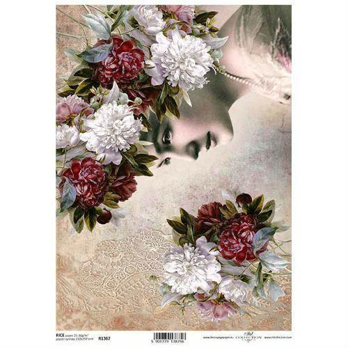 Papier ryżowy ozdobny 297x210 mm - kwiaty vintage z kobietą marki Itdcollection