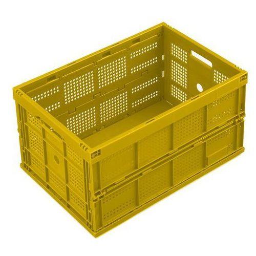 Pojemnik składany z polipropylenu, poj. 60 l, bez pokrywy, żółty, wersja perforo marki Walther faltsysteme