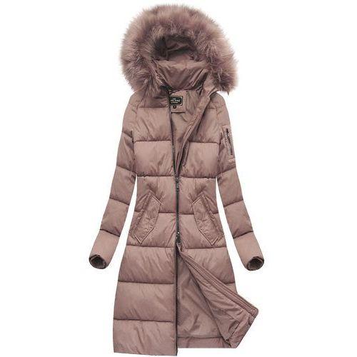 889b3b7f3 Długa pikowana kurtka zimowa z kapturem antyczny róż (7751) - różowy marki  Libland