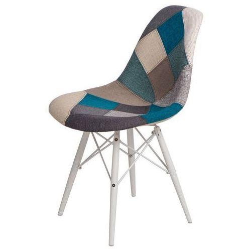Krzesło P016W insp. DSW black/white Patchwork niebiesko/szary, kolor szary