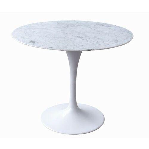 Stół tulip marble 90 biały - blat okrągły marmurowy, metal marki Sofa.pl