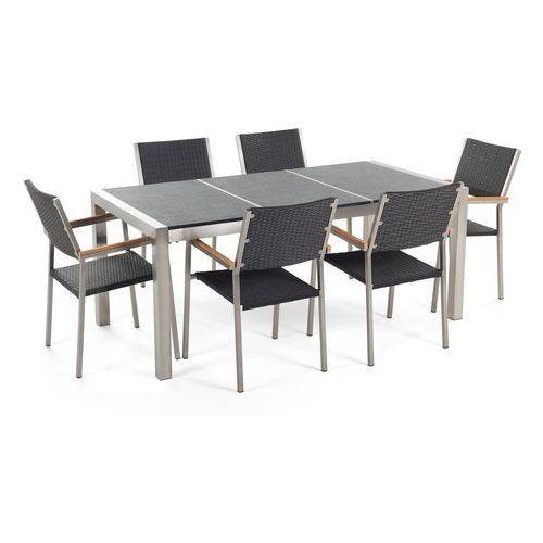 Beliani Zestaw ogrodowy stół granit palony dzielony blat czarny i 6 krzeseł rattanowych czarnych grosseto