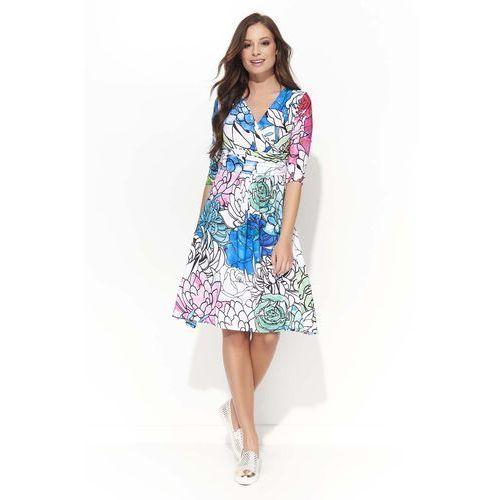 Wizytowa Sukienka w Kwiatowy Wzór z Kopertowym Dekoltem - Wzór 1, DF43ge/wz1