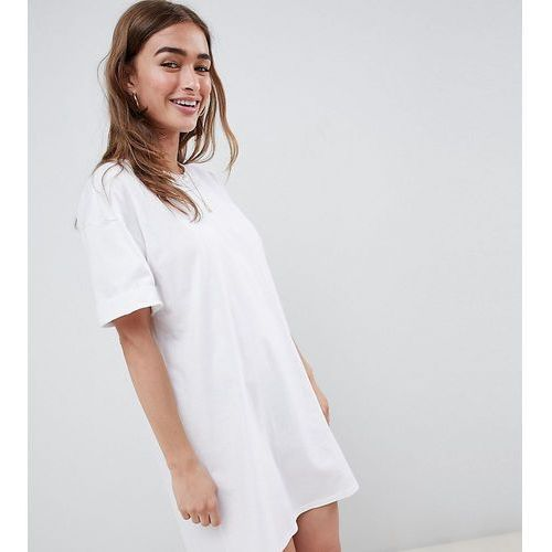 ASOS DESIGN Petite ultimate t-shirt dress with rolled sleeves - White, kolor biały