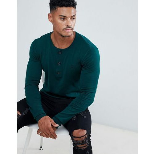 muscle fit knit jumper in green with grandad neck - green marki Religion