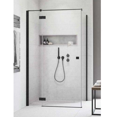 Kabina essenza new black kdj drzwi lewe 80 cm x ścianka 75 cm, szkło przejrzyste wys. 200 cm, 385043-54-01l/384049-54-01 marki Radaway
