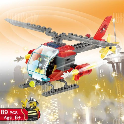 Loz abs 89pcs firefighter helicopter building block diy model, marki Gearbest
