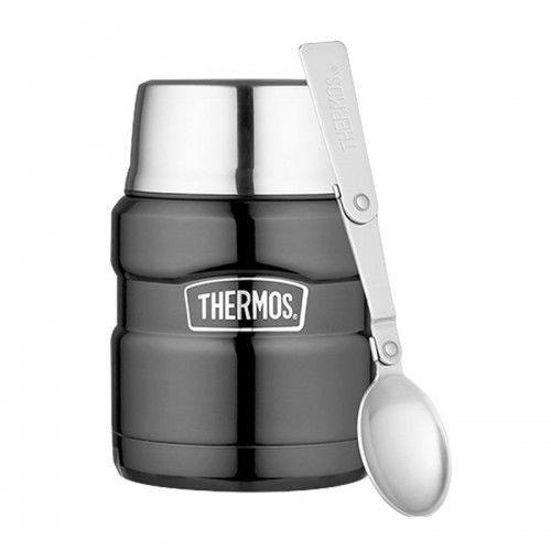 Thermos ® - termos obiadowy ze składaną łyżką - ciemnoszary, 6D23-18992_20191028165642