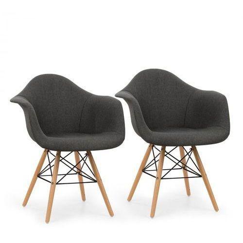 Oneconcept visconti krzesło kubełkowe zestaw 2 szt. tapicerowane siedzisko pp szare (4260509687744)