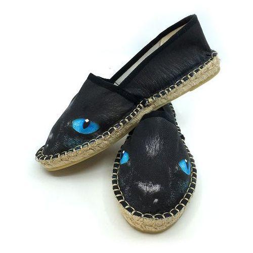 Tulzo Espadryle czarny kot z niebieskim oczami