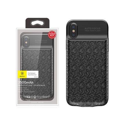 Baseus Etui z baterią 3500mAh Apple iPhone X Power bank - Czarny, kolor czarny