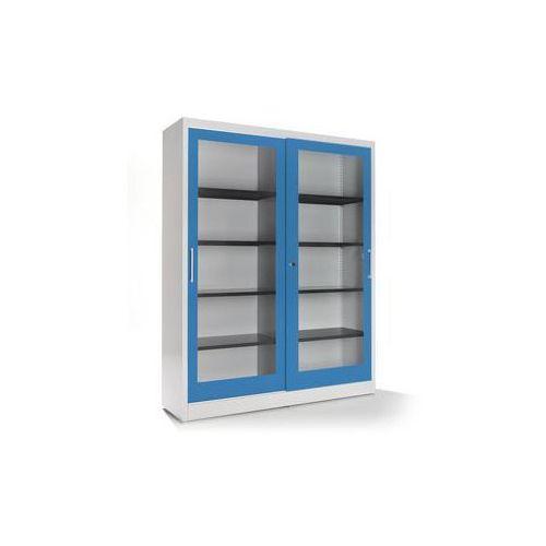 Szafa z drzwiami przesuwnymi,z frontem szklanym, 8 półek, ścianka działowa