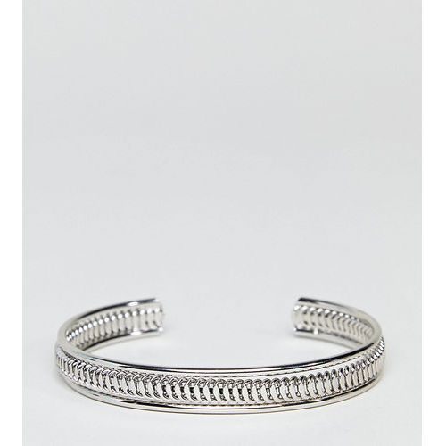 ASOS DESIGN Curve Exclusive Thick Textured Cuff Bracelet - Silver