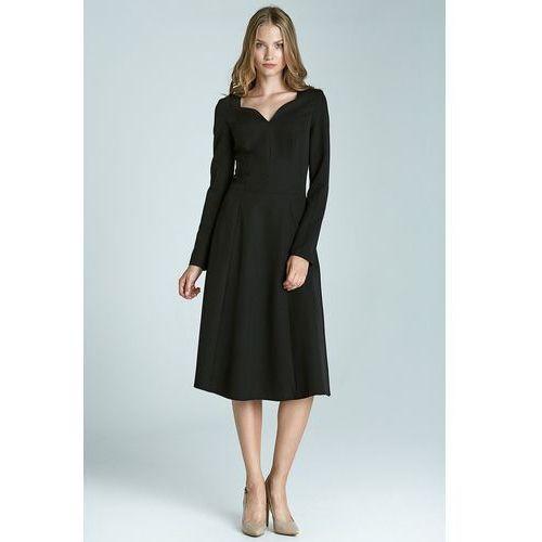 Klasyczna sukienka z długim rękawem - czarny - S66, w 2 rozmiarach