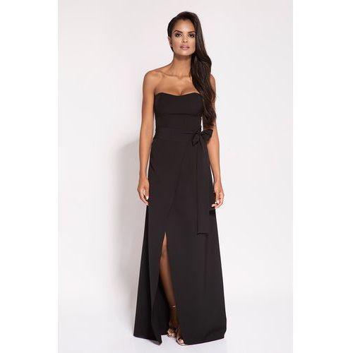 Czarna wieczorowa maxi sukienka z odkrytymi ramionami, 1 rozmiar