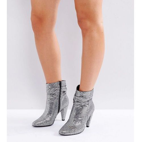 New Look Wide Fit Slouch Glitter Ankle Boot - Silver