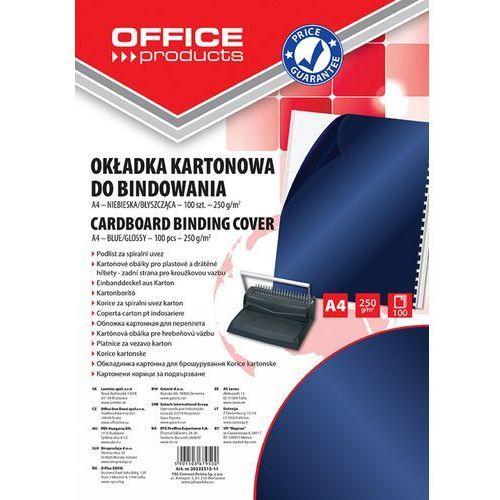 Okładki do bindowania OFFICE PRODUCTS, karton, A4, 250gsm, błyszczące, 100szt., ciemnoniebieski (5901503679500)