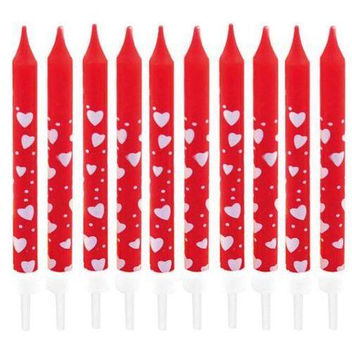 Amscan Świeczki czerwone serduszka 10 sztuk (4009775122647)