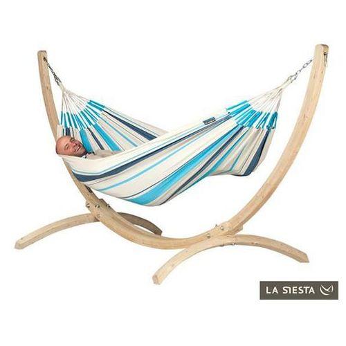 Zestaw hamakowy: hamak caribena ze stojakiem canoa, niebiesko-biały cih14cns121 marki La siesta