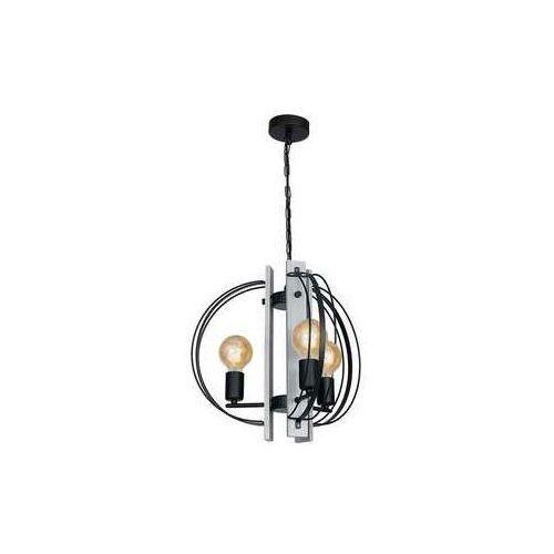 Luminex Dalvin 1189 lampa wisząca zwis 3x60W E27 czarny szare drewno (5907565911893)