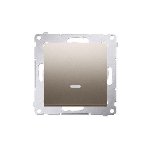 SIMON 54 Przycisk pojedynczy zwierny z podświetleniem LED bez piktogramu (moduł) 10AX, 250V~, szybkozłącza; złoty mat DP1L.01/44 WMDL-0P1xxx-044