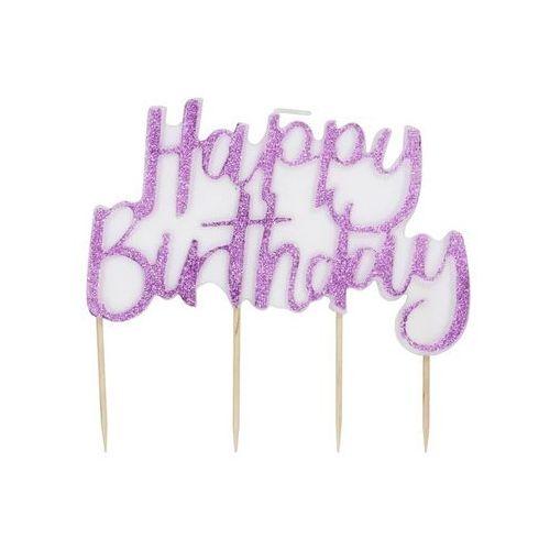 Gin Świeczka brokatowa happy birthday na pikerach różowa - 1 szt. (5056275117146)