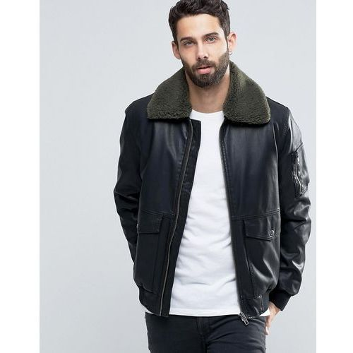 faux leather jacket with borg collar in black - black, Asos