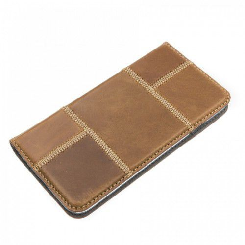 LEATHER IPHONE 6/6S BROWN MAGNETIC BOOK CASE