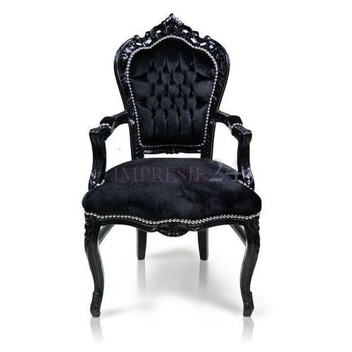 Stylowe krzesło KAIR z podłokietnikami, czarna, drewniana rama, obicie czarny welur.