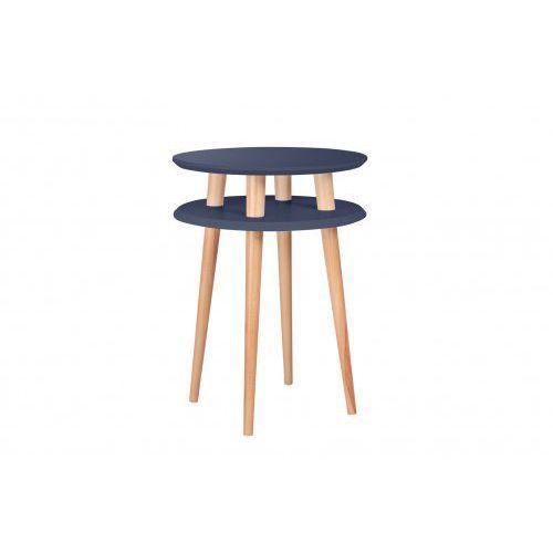 Stolik kawowy okrągły drewniany RAGABA UFO wysoki -kolor grafitowy/ kolor nóg naturalny buk
