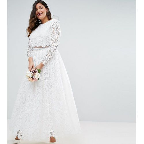 bridal lace long sleeve maxi prom dress - white, Asos curve