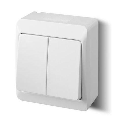 Łącznik podwójny natynkowy IP44 biały 0332-02 Hermes Elektro-Plast