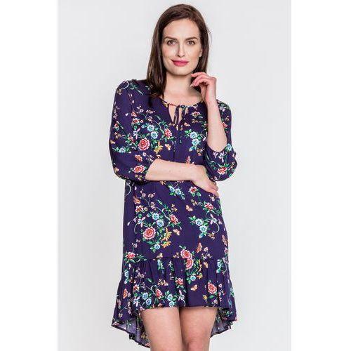Granatowa sukienka w kwiaty - Jelonek, kolor niebieski
