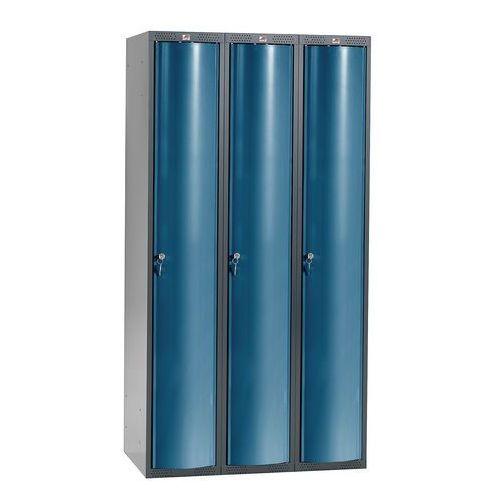 Szafa szatniowa Curve 3 sekcje 3 drzwi 1740x900x550 mm niebieski metali