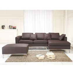 Nowoczesna sofa wraz z pufą ze skóry naturalnej L brąz - kanapa OSLO - produkt z kategorii- Sofy