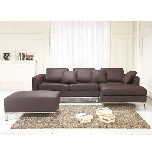 Nowoczesna sofa wraz z pufą ze skóry naturalnej L brąz - kanapa OSLO
