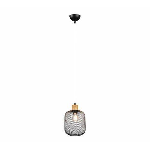 Trio RL Calimero R30561032 lampa wisząca zwis 1x40W E27 czarna/drewniana, kolor Czarny