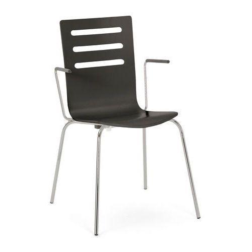 Aj Krzesło do stołówki florence z podłokietnikami proste oparcie czarny