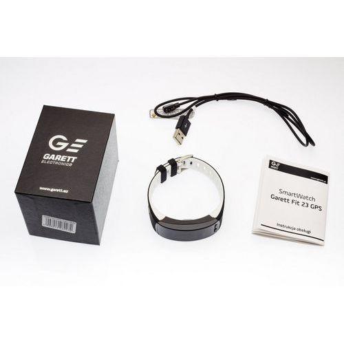 Garett opaska sportowa, smartband fit23 gps czarno-biała