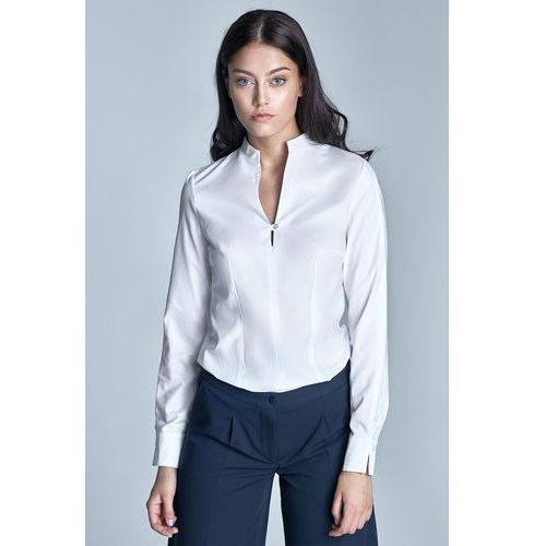 Biała koszulowa bluzka ze stojką z długim rękawem, Nife, 36-44
