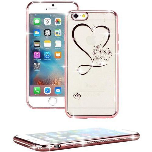 Perlecom Pokrowiec na tył iphone  4260481642472, herz, pasuje do modelu telefonu: apple iphone 7, różowy, efekt brokatu