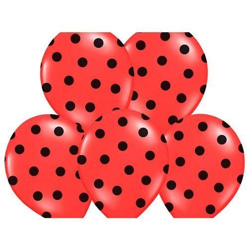 Twojestroje.pl Balon lateksowy czerwony w czarne kropki 30 cm 1szt (5901157492357)