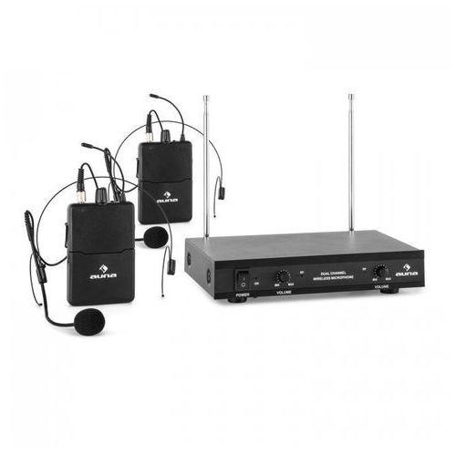 vhf-2-hs 2-kanałowy radiowy zestaw mikrofonowy vhf 2x mikrofon nagłowny zas marki Auna pro